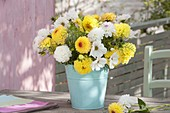 White-yellow Cosmos and Dahlia bouquet