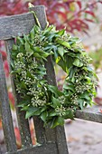Wreath of hedera with fruit stalks on backrest hanged from bench