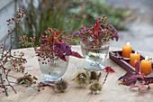 Small bouquets of Rose, Sedum telephium