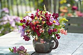 Late summer bouquet made from Antirrhinum (snapdragon), Solidago