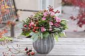 Autumn bouquet made of rose (rose, rosehips), eucalyptus, hydrangea