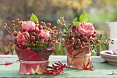 Small bouquets made of roses (rosehip) in glasses