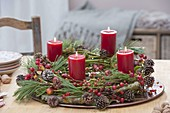 Rural Advent wreath of natural materials