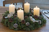 Natural Abies (fir) and Buxus (Box) Advent wreath