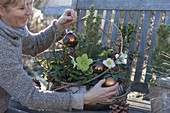 Winterfest planted copper bowl on wooden bench