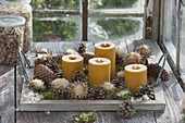 Fast, natural Advent decoration with yellow candles on wooden tray