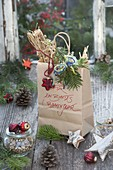 Paper bag with flower seeds as a gift for garden lovers