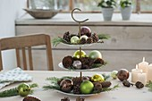 Etagere with pine cones, green balls and Larix and Pinus branches