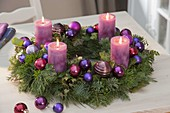 Advent wreath mixed with Abies, Pinus, Buxus