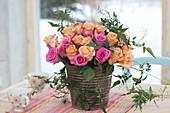 Bouquet made of pink (rose) and Jasminum polyanthum