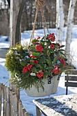 Zinc bowl hung as a flower basket