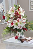 Red-white Christmas bouquet of Hippeastrum, Eucalyptus