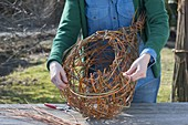 Making a globe basket as a hanging flower basket