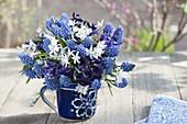 Blue and white Muscari armeniacum (Grape Hyacinth) bouquet