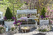 Easter terrace with planted containers and a garden bench