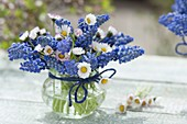 Small bunch of Bellis perennis and Muscari