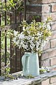 White Prunus avium branches bouquet