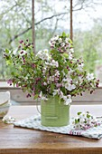 Bouquet with apple blossom malus 'Evereste' with white flowers