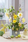 Easter Narcissus bouquet with Betula branches