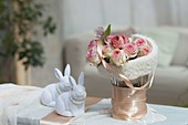 Romantic Easter bouquet with Rosa salmon silk ribbon
