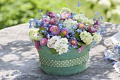 Flower cake in felt coat, flowers of viburnum, myosotis