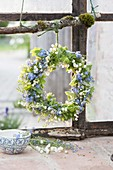 Spring wreath made from Convallaria (lily of the valley), Myosotis