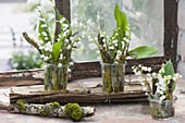 Small bouquets of Convallaria (lily of the valley)