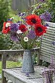 Bouquet in zinc-pot on garden bench-Papaver orientale