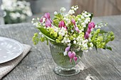 Mini bouquet in a jar, Dicentra (bleeding heart), Convallaria