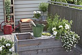 Homemade planter with integrated bench