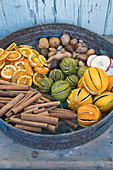 THE Garden AND PLANT COMPANY, Hatherop, Gloucestershire: Garden RIDDLE with NATURAL DECORATION; Dried Oranges, Lemons AND LIMES. Dried SLICED Oranges AND APPLES, Nuts AND CINNAMON