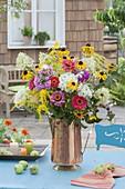 Bouquet made of Hydrangea, Zinnia, Rudbeckia