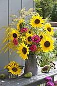 Late summer bouquet with Helianthus (sunflower), Zinnia (Zinnia)