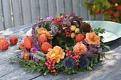 Autumn wreath Ala across the garden