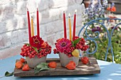 Small table decoration with sorbus (rowan berries, rowan), zinnia