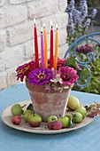 Small candle deco in clay pot
