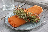 Napkin in wreaths of seeds of fennel (Foeniculum)