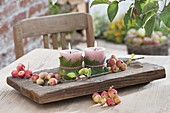 Small candle decoration with Malus 'Van Eseltine' (ornamental apple)