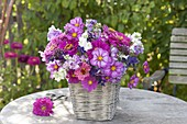 Fragrant summer bouquet in basket vase, Zinnia (Zinnia), Cosmos