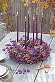 Wreath of hydrangea flowers