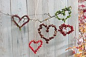Mobile from the heart as a hanging decoration