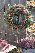 Autumn wreath from cutback of Eucalyptus with malus (ornamental apple)