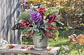 Colorful autumn bouquet with vegetables, fruits and herbs