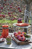 Autumn table decoration at the apple tree