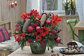 Red Christmas bouquet of Hippeastrum (Amaryllis), Ilex
