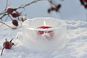 Red candle in lantern made of ice
