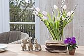 Bouquet with Tulipa (tulip), Salix (kitten-willow) twigs