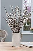 Salix (kitten pasture) bouquet in white jug
