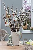 Salix bouquet with birds in white jug