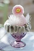 Pink breakfast egg in eggcup with catkins sleeve